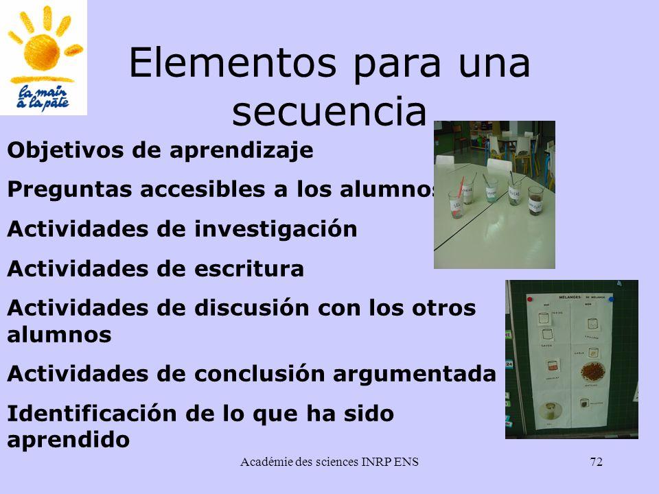 Académie des sciences INRP ENS72 Elementos para una secuencia Objetivos de aprendizaje Preguntas accesibles a los alumnos Actividades de investigación Actividades de escritura Actividades de discusión con los otros alumnos Actividades de conclusión argumentada Identificación de lo que ha sido aprendido