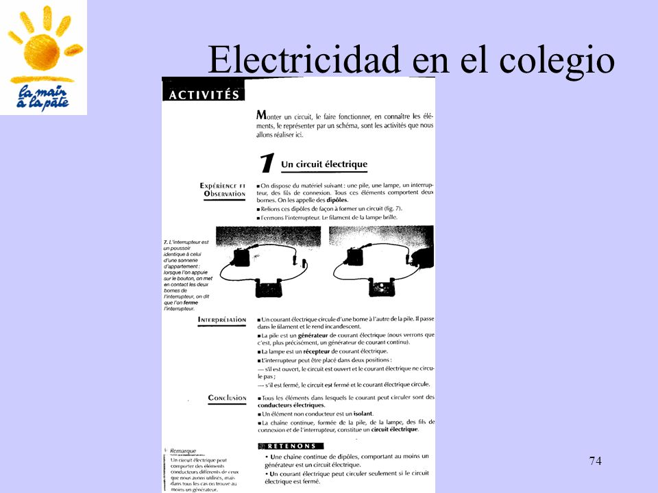 Académie des sciences INRP ENS74 Electricidad en el colegio
