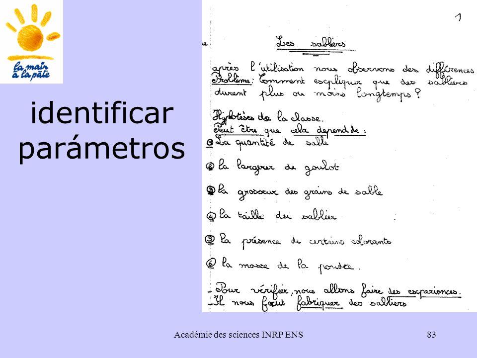 Académie des sciences INRP ENS83 identificar parámetros