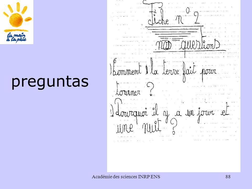 Académie des sciences INRP ENS88 preguntas