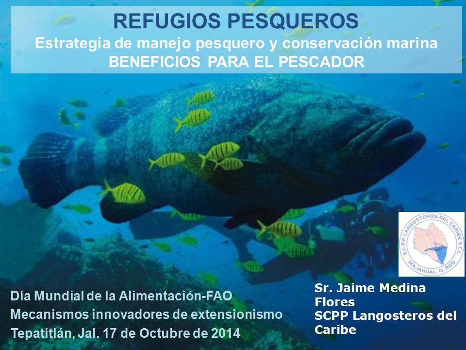 REFUGIOS PESQUEROS Estrategia de manejo pesquero y conservación marina BENEFICIOS PARA EL PESCADOR Día Mundial de la Alimentación-FAO Mecanismos innovadores de extensionismo Tepatitlán, Jal.