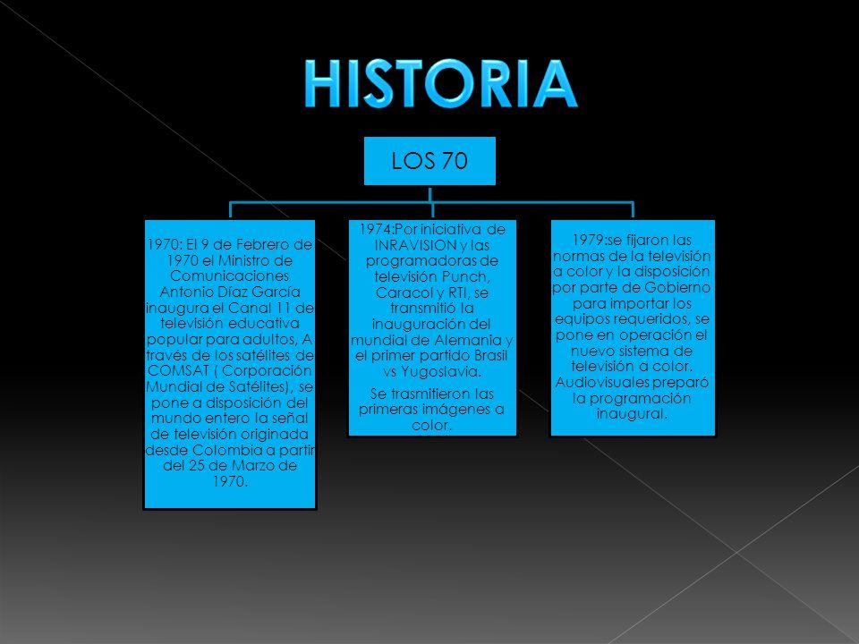 LOS 70 1970: El 9 de Febrero de 1970 el Ministro de Comunicaciones Antonio Díaz García inaugura el Canal 11 de televisión educativa popular para adultos, A través de los satélites de COMSAT ( Corporación Mundial de Satélites), se pone a disposición del mundo entero la señal de televisión originada desde Colombia a partir del 25 de Marzo de 1970.