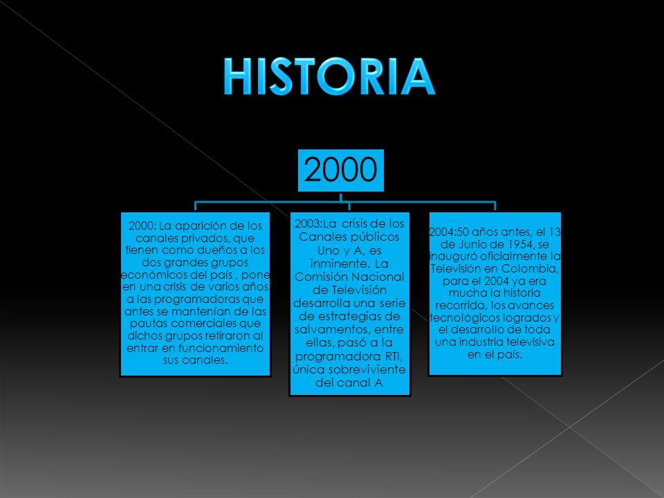 2000 2000: La aparición de los canales privados, que tienen como dueños a los dos grandes grupos económicos del país, pone en una crisis de varios años a las programadoras que antes se mantenían de las pautas comerciales que dichos grupos retiraron al entrar en funcionamiento sus canales.