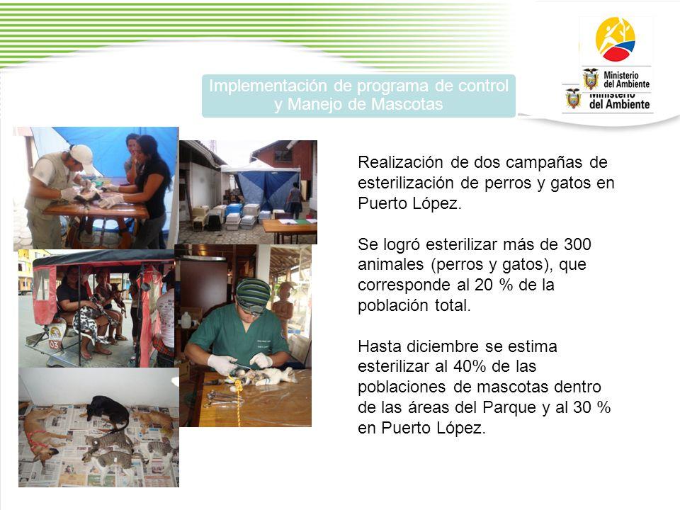 Implementación de programa de control y Manejo de Mascotas Realización de dos campañas de esterilización de perros y gatos en Puerto López.