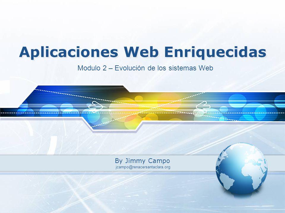 Aplicaciones Web Enriquecidas By Jimmy Campo Modulo 2 – Evolución de los sistemas Web jcampo@renacersantaclara.org
