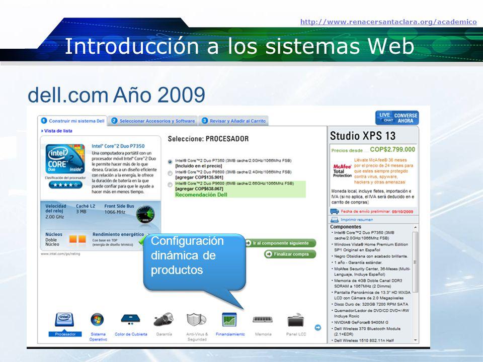 Introducción a los sistemas Web http://www.renacersantaclara.org/academico dell.com Año 2009 Configuración dinámica de productos