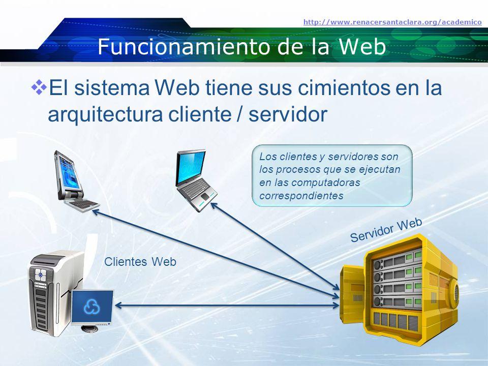Funcionamiento de la Web  El sistema Web tiene sus cimientos en la arquitectura cliente / servidor http://www.renacersantaclara.org/academico Servidor Web Clientes Web Los clientes y servidores son los procesos que se ejecutan en las computadoras correspondientes