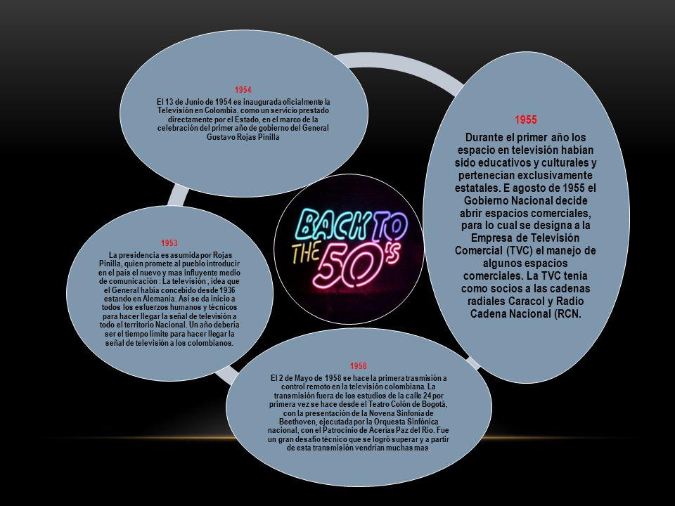 1954 El 13 de Junio de 1954 es inaugurada oficialmente la Televisión en Colombia, como un servicio prestado directamente por el Estado, en el marco de la celebración del primer año de gobierno del General Gustavo Rojas Pinilla 1955 Durante el primer año los espacio en televisión habían sido educativos y culturales y pertenecían exclusivamente estatales.