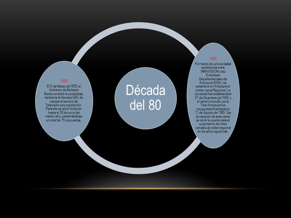 Década del 80 1985 El 6 de Marzo de1985, el Gobierno de Belisario Betancur abrió la posibilidad, mediante le Decreto 666, de prestar el servicio de Televisión pos suscripción.