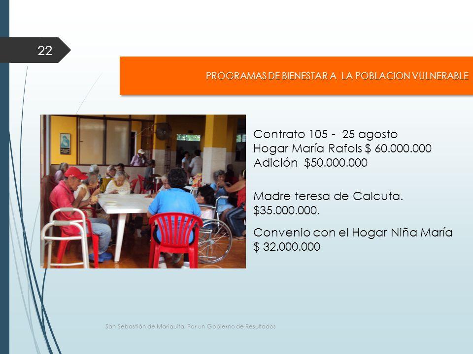 San Sebastián de Mariquita, Por un Gobierno de Resultados 22 PROGRAMAS DE BIENESTAR A LA POBLACION VULNERABLE Contrato 105 - 25 agosto Hogar María Rafols $ 60.000.000 Adición $50.000.000 Madre teresa de Calcuta.