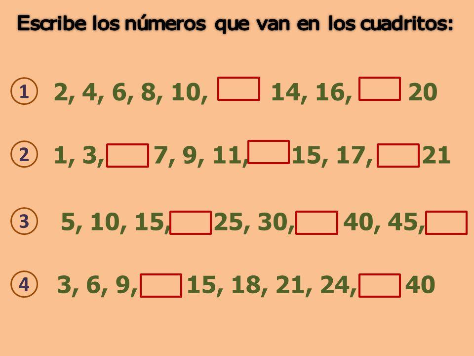 2, 4, 6, 8, 10, 14, 16, 20 1 3, 6, 9, 15, 18, 21, 24, 40 4 5, 10, 15, 25, 30, 40, 45, 3 1, 3, 7, 9, 11, 15, 17, 21 2