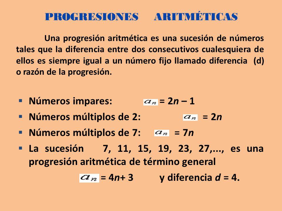 Una progresión aritmética es una sucesión de números tales que la diferencia entre dos consecutivos cualesquiera de ellos es siempre igual a un número fijo llamado diferencia (d) o razón de la progresión.