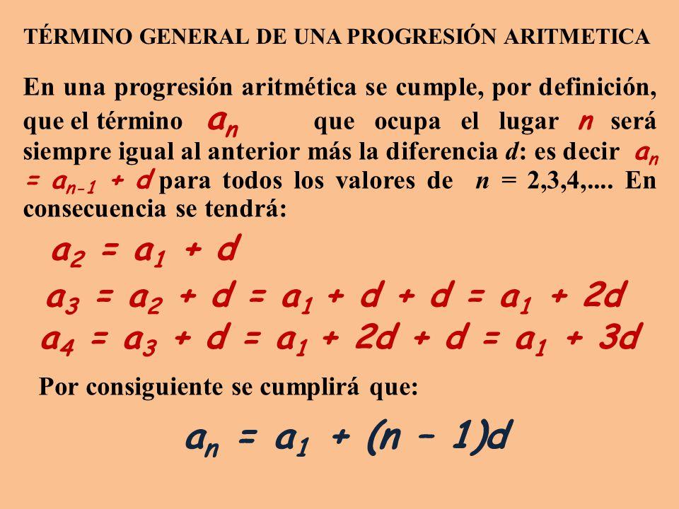 En una progresión aritmética se cumple, por definición, que el término a n que ocupa el lugar n será siempre igual al anterior más la diferencia d: es decir a n = a n-1 + d para todos los valores de n = 2,3,4,....