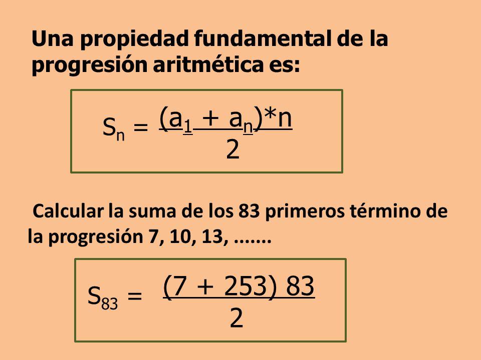 Calcular la suma de los 83 primeros término de la progresión 7, 10, 13,.......