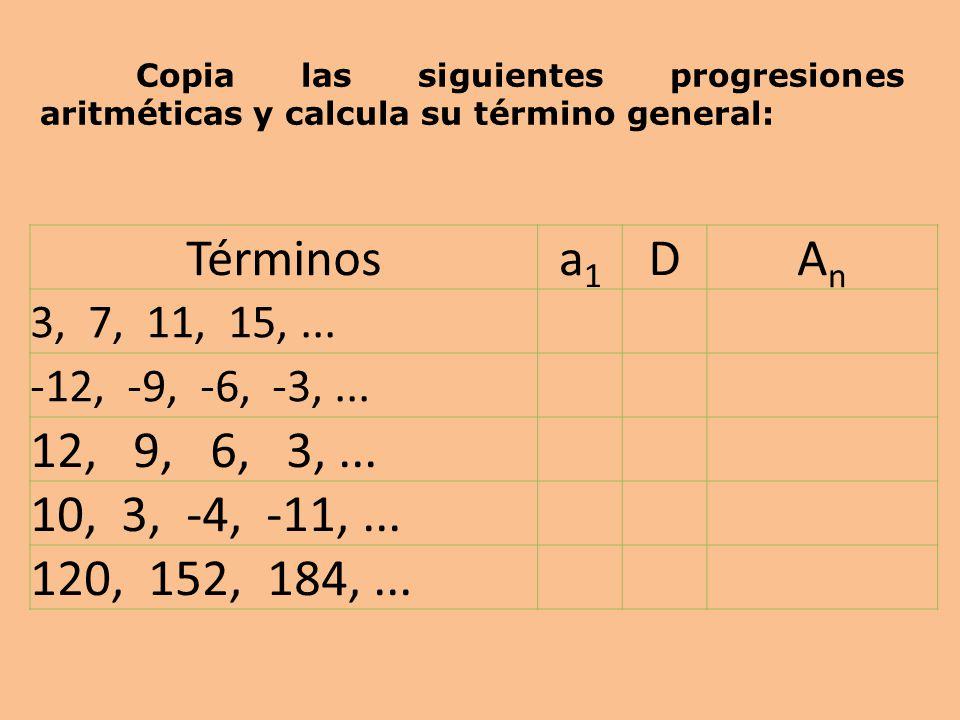 Términosa1a1 DAnAn 3, 7, 11, 15,...-12, -9, -6, -3,...