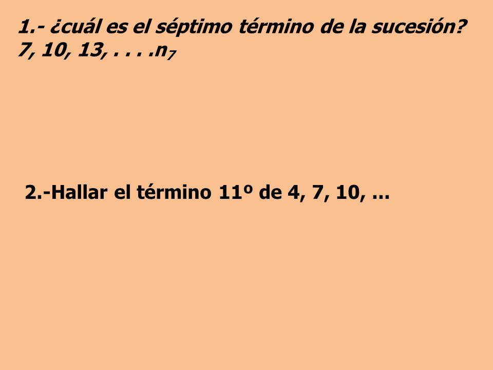 1.- ¿cuál es el séptimo término de la sucesión.