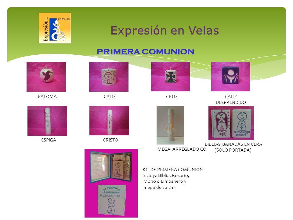 PALOMACALIZCRUZCALIZ DESPRENDIDO PRIMERA COMUNION ESPIGACRISTO MEGA ARREGLADO CO BIBLIAS BAÑADAS EN CERA (SOLO PORTADA) KIT DE PRIMERA COMUNION incluye Biblia, Rosario, Moño o Limosnero y mega de 20 cm Expresión en Velas