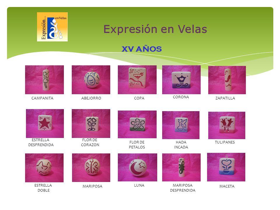 CAMPANITACOPA CORONA ZAPATILLA ESTRELLA DESPRENDIDA FLOR DE CORAZON FLOR DE PETALOS HADA INCADA TULIPANES ESTRELLA DOBLE MARIPOSA LUNAMARIPOSA DESPRENDIDA MACETA ABEJORRO XV AÑOS Expresión en Velas