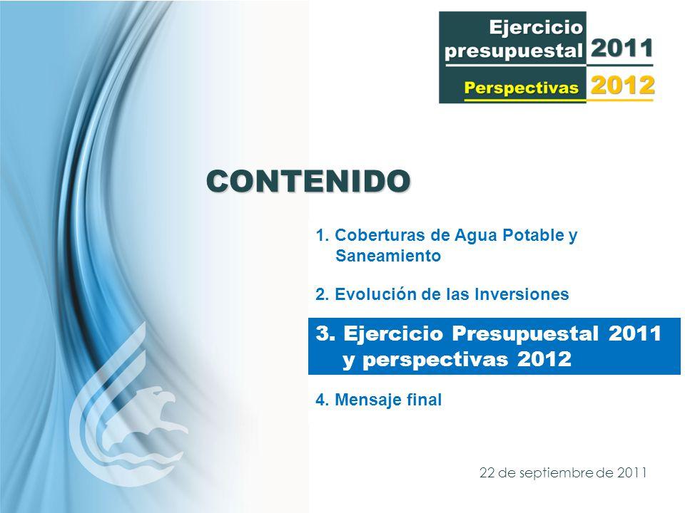 CONTENIDO 1. Coberturas de Agua Potable y Saneamiento 2.
