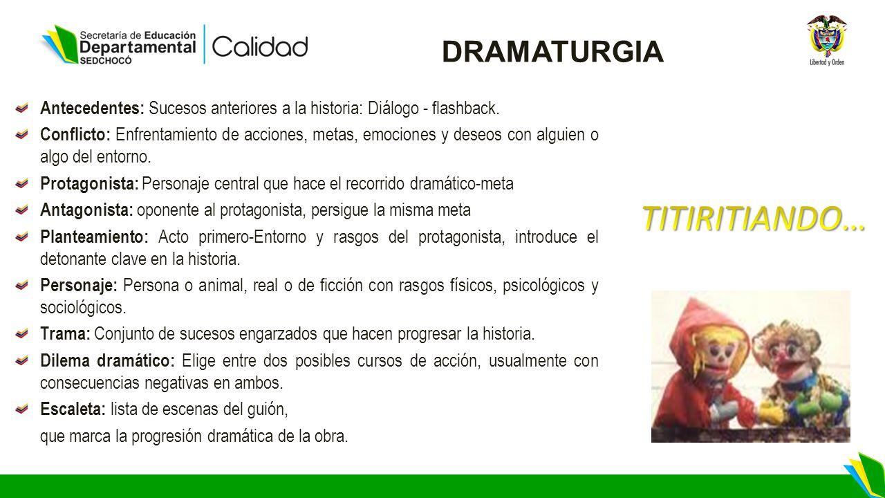 DRAMATURGIA Antecedentes: Sucesos anteriores a la historia: Diálogo - flashback.