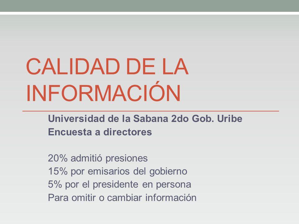 CALIDAD DE LA INFORMACIÓN Universidad de la Sabana 2do Gob.