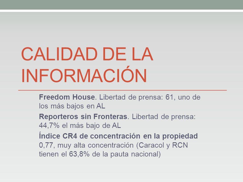 CALIDAD DE LA INFORMACIÓN Freedom House.
