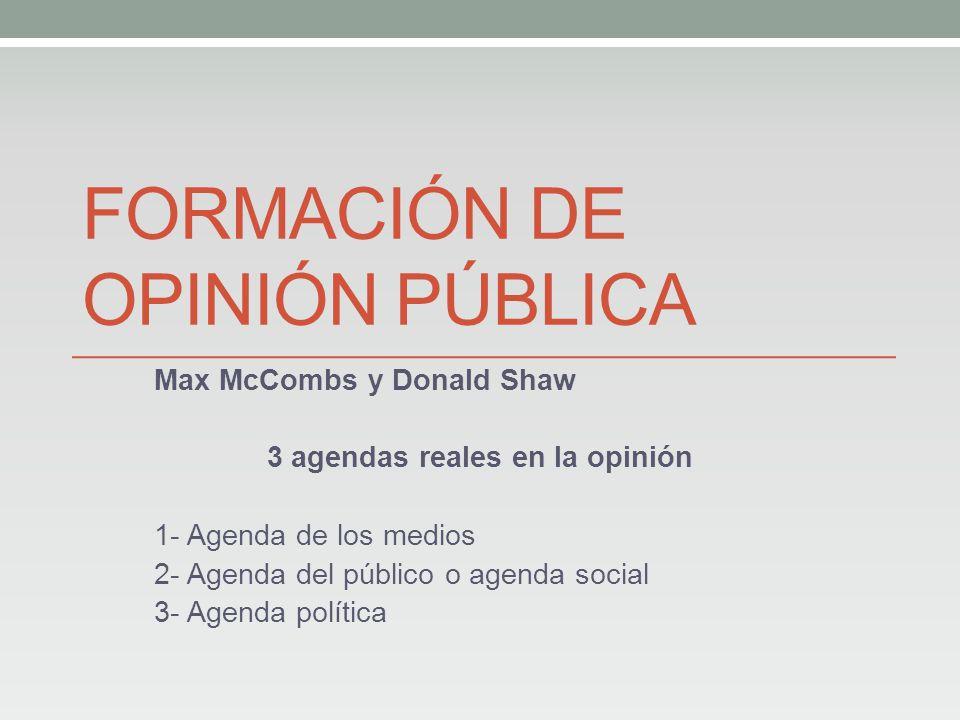 FORMACIÓN DE OPINIÓN PÚBLICA Max McCombs y Donald Shaw 3 agendas reales en la opinión 1- Agenda de los medios 2- Agenda del público o agenda social 3- Agenda política