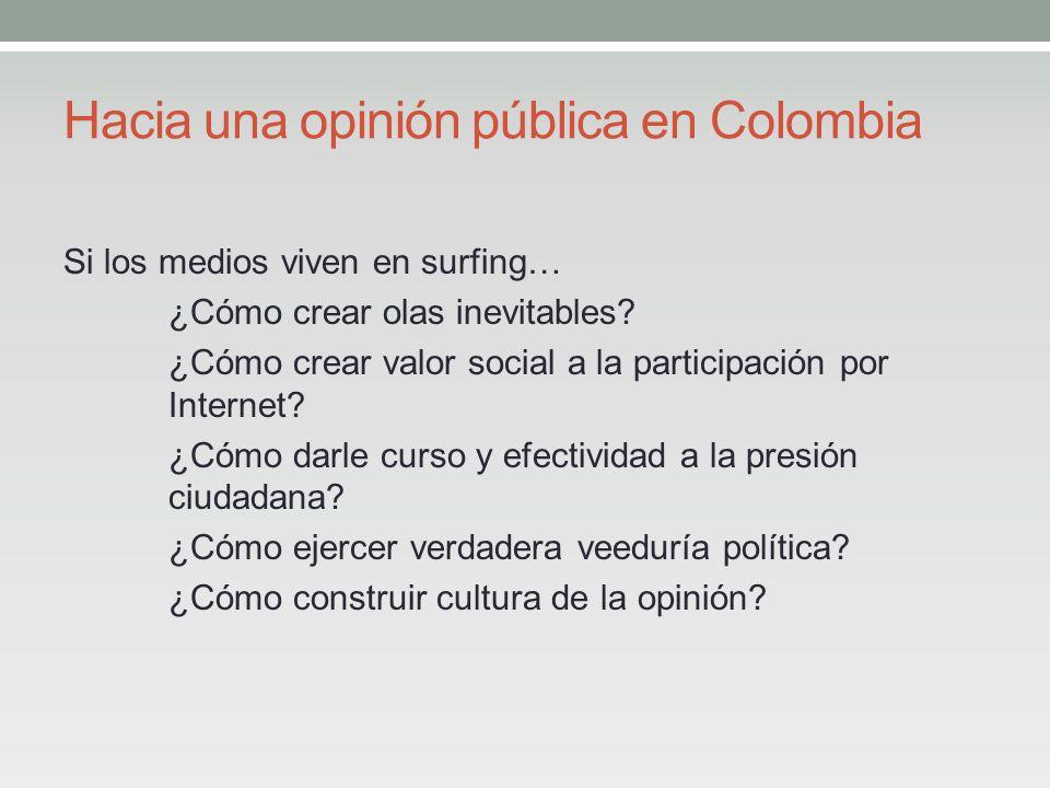 Hacia una opinión pública en Colombia Si los medios viven en surfing… ¿Cómo crear olas inevitables.
