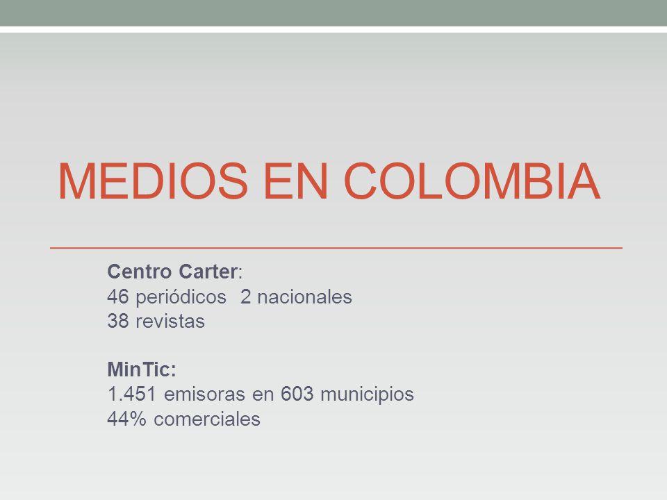 MEDIOS EN COLOMBIA Centro Carter: 46 periódicos2 nacionales 38 revistas MinTic: 1.451 emisoras en 603 municipios 44% comerciales