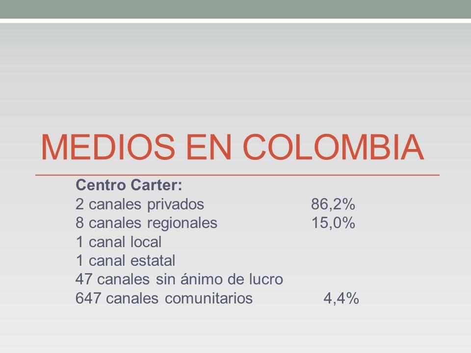 MEDIOS EN COLOMBIA Centro Carter: 2 canales privados 86,2% 8 canales regionales15,0% 1 canal local 1 canal estatal 47 canales sin ánimo de lucro 647 canales comunitarios 4,4%
