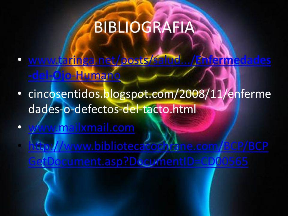 BIBLIOGRAFIA www.taringa.net/posts/salud.../Enfermedades -del-Ojo-Humano www.taringa.net/posts/salud.../Enfermedades -del-Ojo-Humano cincosentidos.blogspot.com/2008/11/enferme dades-o-defectos-del-tacto.html www.mailxmail.com http://www.bibliotecacochrane.com/BCP/BCP GetDocument.asp DocumentID=CD00565 http://www.bibliotecacochrane.com/BCP/BCP GetDocument.asp DocumentID=CD00565