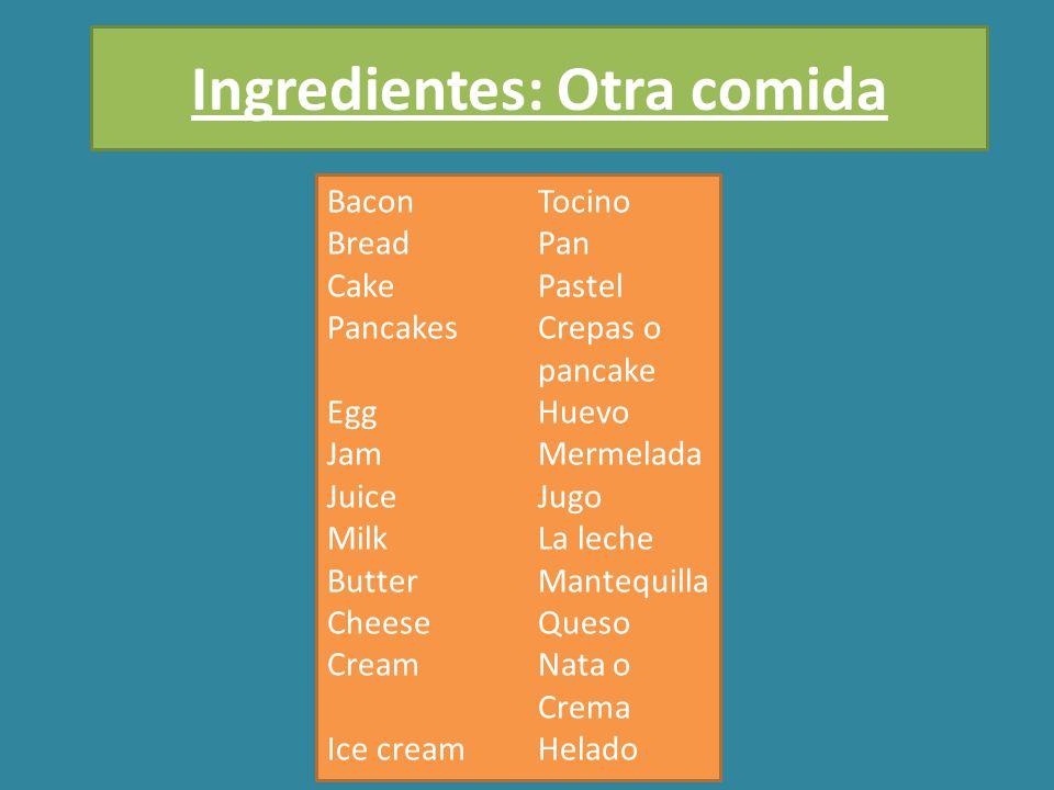 BaconTocino BreadPan CakePastel PancakesCrepas o pancake EggHuevo JamMermelada JuiceJugo MilkLa leche ButterMantequilla CheeseQueso CreamNata o Crema Ice creamHelado Ingredientes: Otra comida