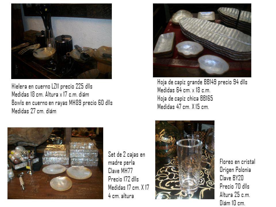 Hielera en cuerno LZ11 precio 225 dlls Medidas 18 cm.