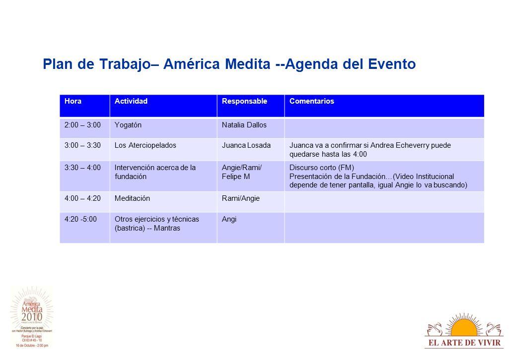 Plan de Trabajo– América Medita --Agenda del Evento HoraActividadResponsableComentarios 2:00 – 3:00YogatónNatalia Dallos 3:00 – 3:30Los AterciopeladosJuanca LosadaJuanca va a confirmar si Andrea Echeverry puede quedarse hasta las 4:00 3:30 – 4:00Intervención acerca de la fundación Angie/Rami/ Felipe M Discurso corto (FM) Presentación de la Fundación…(Video Institucional depende de tener pantalla, igual Angie lo va buscando) 4:00 – 4:20MeditaciónRami/Angie 4:20 -5:00Otros ejercicios y técnicas (bastrica) -- Mantras Angi