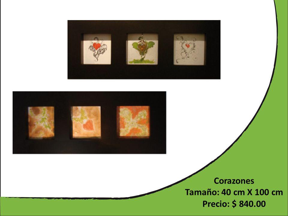 Corazones Tamaño: 40 cm X 100 cm Precio: $ 840.00