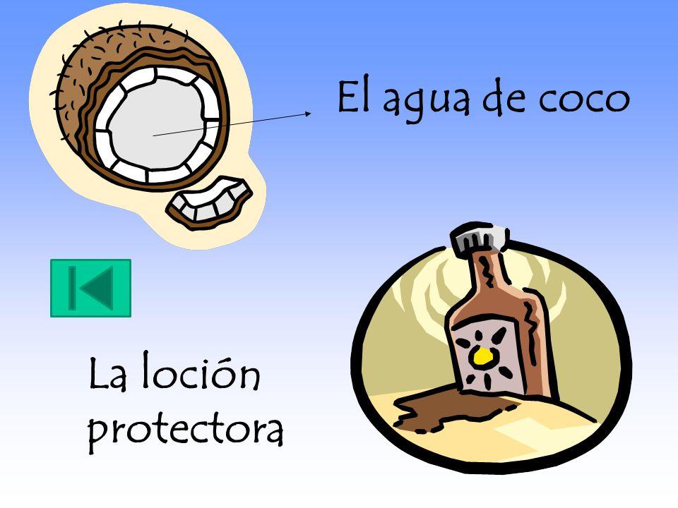 El agua de coco La loción protectora