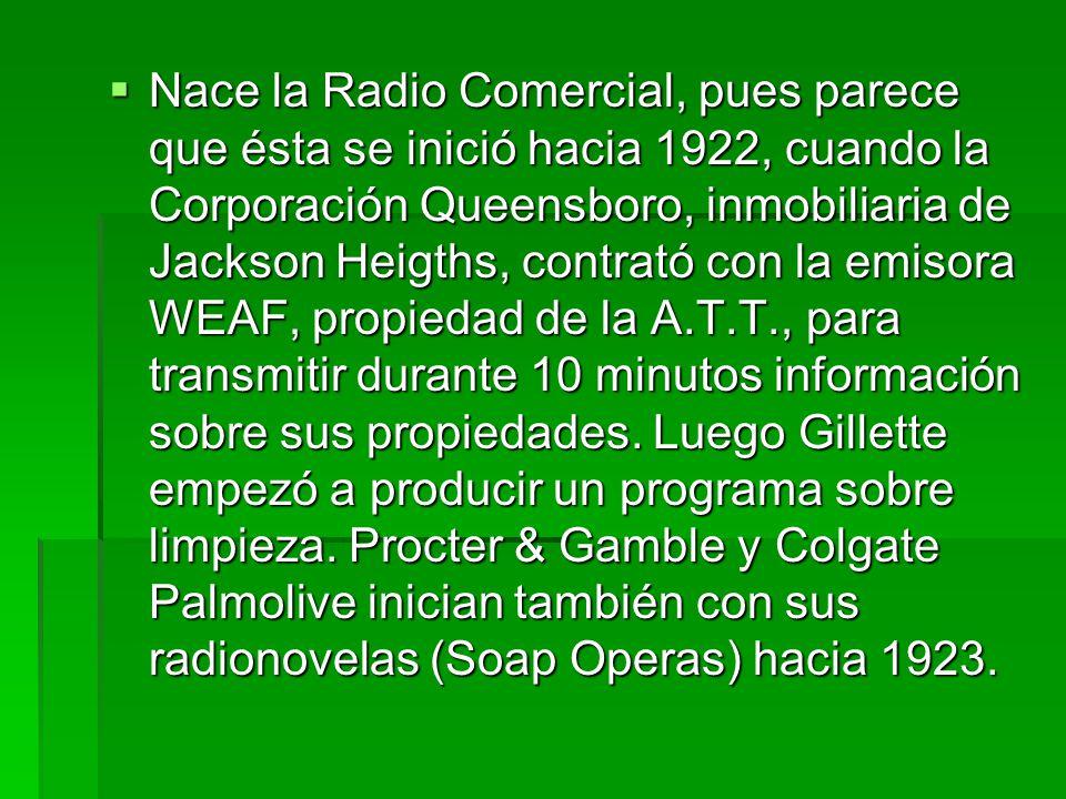  Un año más tarde y con apoyo en su red telefónica la compañía American Telephone & Telegraph (A.T.T.) empezó a operar una Cadena de Costa a costa compuesta por 23 estaciones.