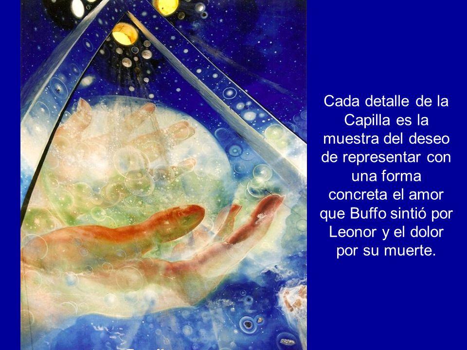 Buffo era un artista destacado y su amor por el muralismo lo llevó a detallar su vida y sentimientos en tres murales impresionantes dentro de la Capilla.