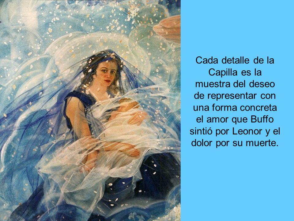 En esta representación podemos apreciar a Leonor inmersa en un cúmulo de nubes observando a su hija y custodiada por ángeles.