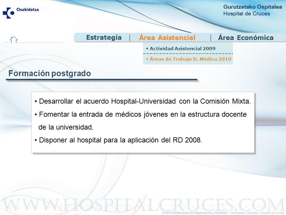 Área EconómicaÁrea Asistencial Desarrollar el acuerdo Hospital-Universidad con la Comisión Mixta.