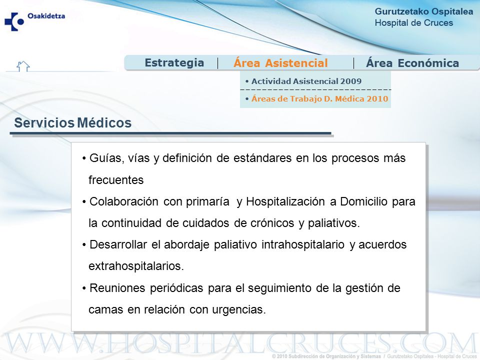 Área EconómicaÁrea Asistencial Guías, vías y definición de estándares en los procesos más frecuentes Colaboración con primaría y Hospitalización a Domicilio para la continuidad de cuidados de crónicos y paliativos.