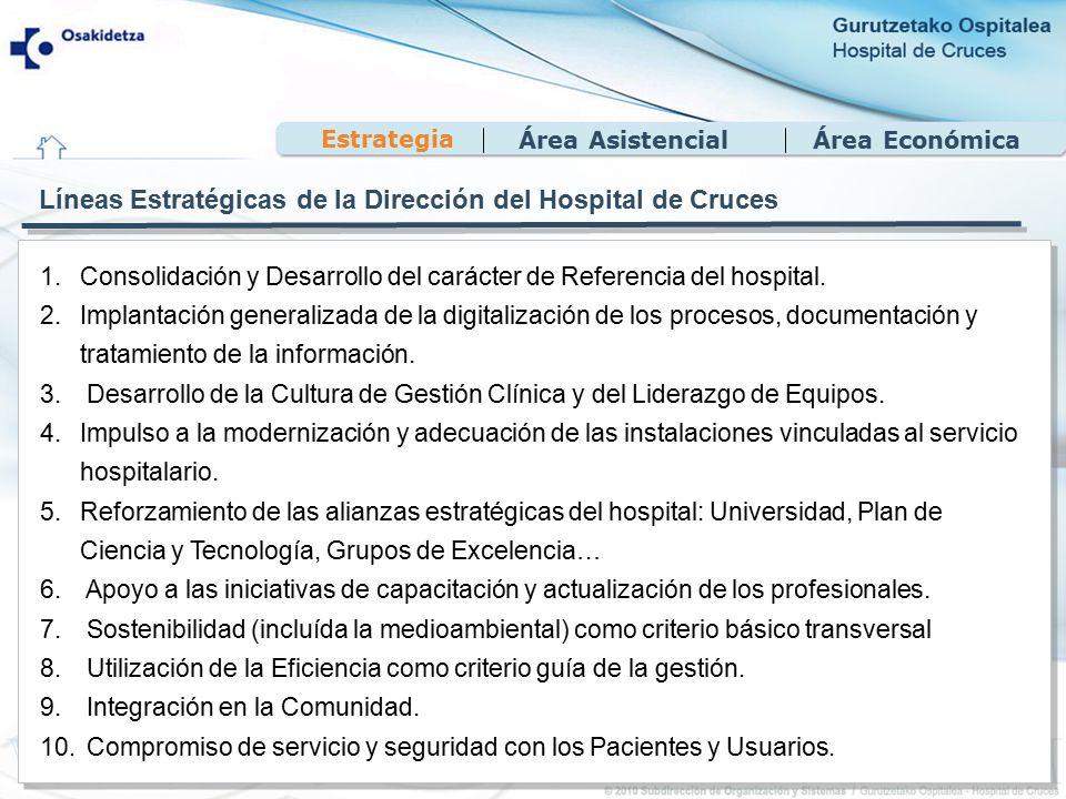 Área EconómicaÁrea Asistencial Estrategia Líneas Estratégicas de la Dirección del Hospital de Cruces 1.Consolidación y Desarrollo del carácter de Referencia del hospital.