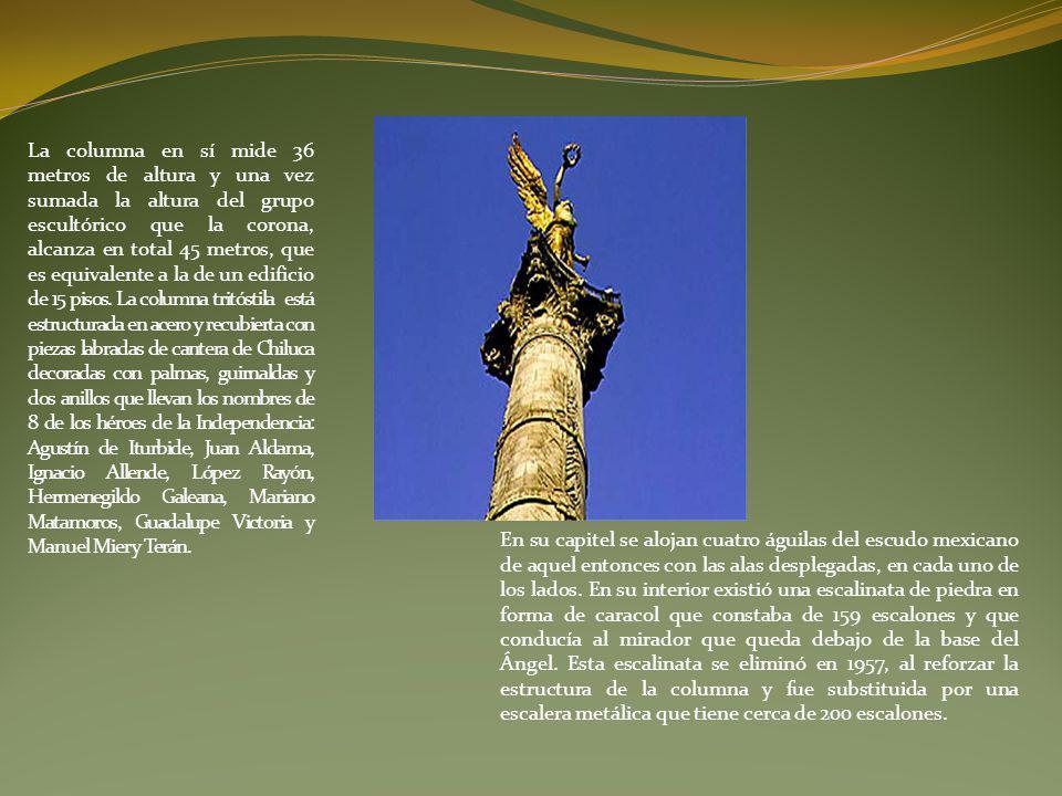 La columna en sí mide 36 metros de altura y una vez sumada la altura del grupo escultórico que la corona, alcanza en total 45 metros, que es equivalente a la de un edificio de 15 pisos.