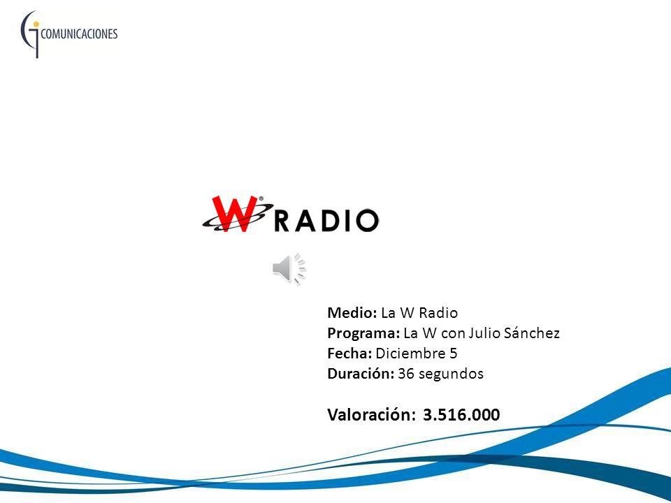 Medio: La W Radio Programa: La W con Julio Sánchez Fecha: Diciembre 5 Duración: 36 segundos Valoración: 3.516.000