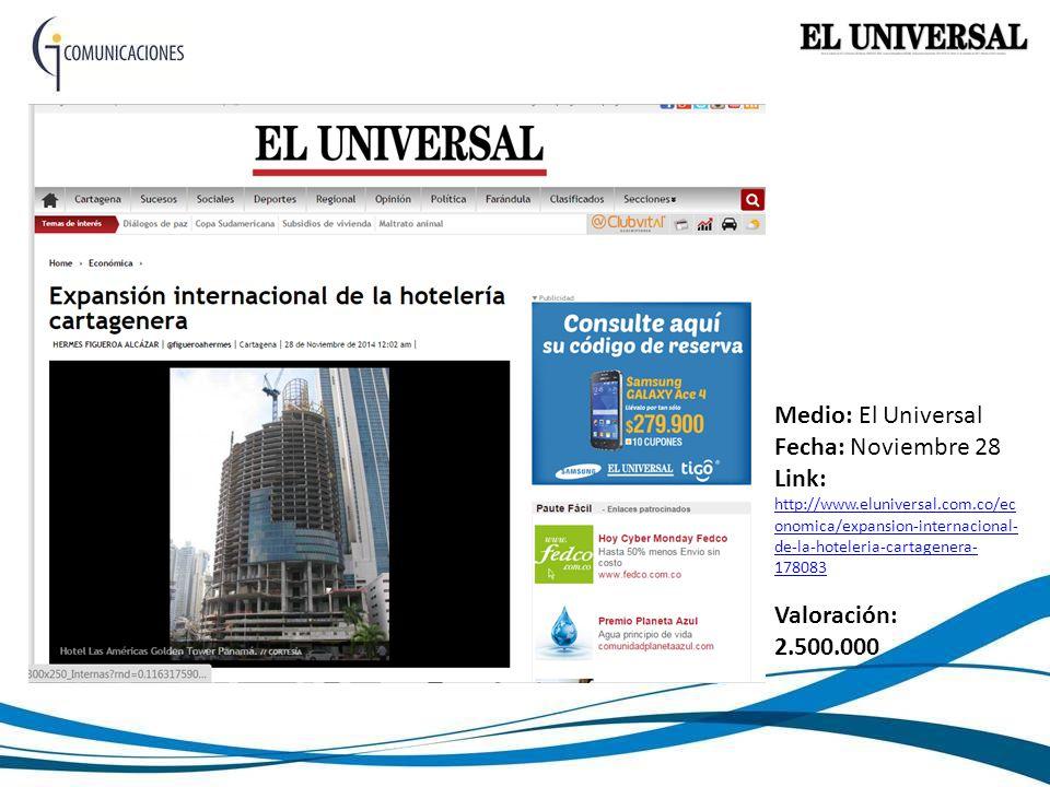 Medio: El Universal Fecha: Noviembre 28 Link: http://www.eluniversal.com.co/ec onomica/expansion-internacional- de-la-hoteleria-cartagenera- 178083 http://www.eluniversal.com.co/ec onomica/expansion-internacional- de-la-hoteleria-cartagenera- 178083 Valoración: 2.500.000