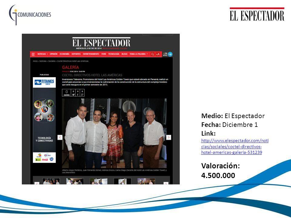 Medio: El Espectador Fecha: Diciembre 1 Link: http://www.elespectador.com/noti cias/sociales/coctel-directivos- hotel-americas-galeria-531239 http://www.elespectador.com/noti cias/sociales/coctel-directivos- hotel-americas-galeria-531239 Valoración: 4.500.000