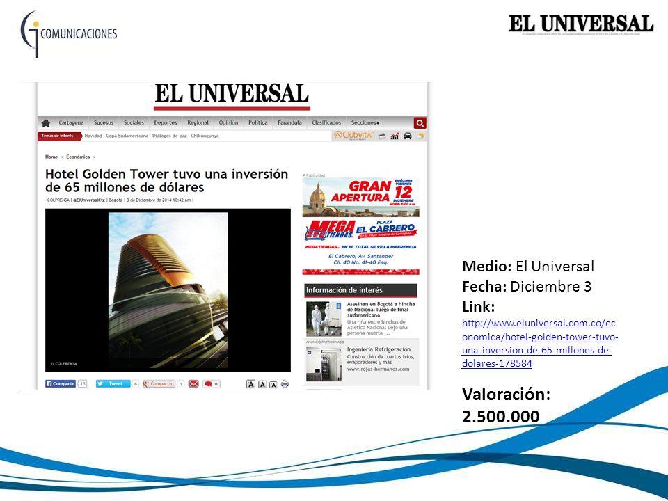 Medio: El Universal Fecha: Diciembre 3 Link: http://www.eluniversal.com.co/ec onomica/hotel-golden-tower-tuvo- una-inversion-de-65-millones-de- dolares-178584 http://www.eluniversal.com.co/ec onomica/hotel-golden-tower-tuvo- una-inversion-de-65-millones-de- dolares-178584 Valoración: 2.500.000