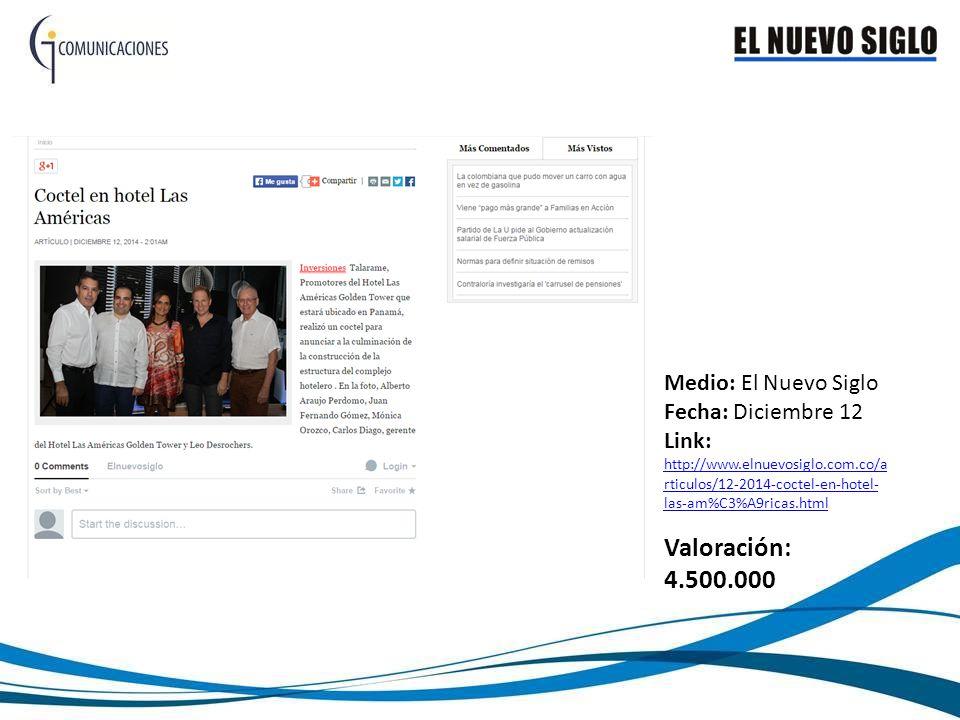 Medio: El Nuevo Siglo Fecha: Diciembre 12 Link: http://www.elnuevosiglo.com.co/a rticulos/12-2014-coctel-en-hotel- las-am%C3%A9ricas.html http://www.elnuevosiglo.com.co/a rticulos/12-2014-coctel-en-hotel- las-am%C3%A9ricas.html Valoración: 4.500.000