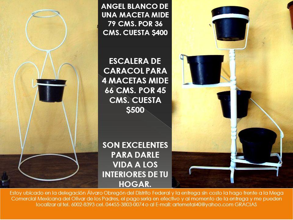 ESCALERA DE CARACOL PARA 4 MACETAS MIDE 66 CMS. POR 45 CMS.