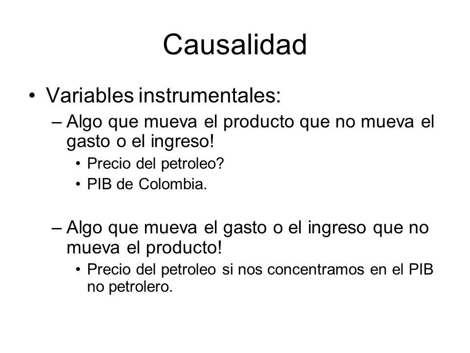 Causalidad Variables instrumentales: –Algo que mueva el producto que no mueva el gasto o el ingreso.
